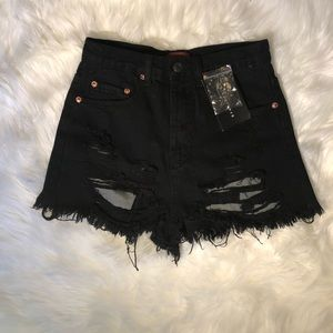 Lulus black destroyed high waisted shorts